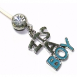 It's A Boy Dangle Pregnancy Belly Bar