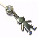 Boy Blue Crystal Dangle Pregnancy Belly Bar
