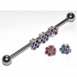 Interchangeable Crystal Flowers Scaffold Barbell