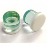 White Disk Glass Single Flare Bullet Plug