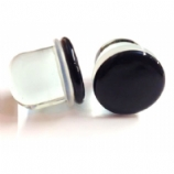 Black Disk Glass Single Flare Bullet Plug