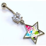 Neon Skull & Bones Print Star Dangle Belly Bar