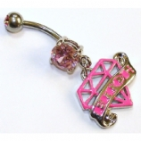 Pink Diamond & 'Bitch' Tattoo Banner Dangle Belly Bar