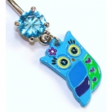 Cute Blue Owl Dangle Belly Bar