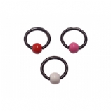 Enamel Ball Black PVD Titanium Ball Closure Ring - 1.6mm