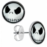 Jack Skellington Logo Surgical Steel Ear Studs Earrings - Pair