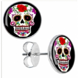 Sugar Skull Logo Surgical Steel Ear Studs Earrings - Pair