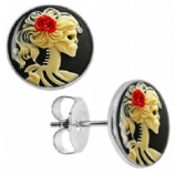 Skeleton Lady Logo Surgical Steel Ear Studs Earrings - Pair