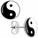 Yin Yang Logo Surgical Steel Ear Studs Earrings - Pair