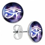Eye Of Horus Logo Surgical Steel Ear Studs Earrings - Pair