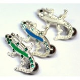Enamel Gecko Top Drop Sterling Silver Belly Bar