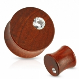 Single Crystal Mahogany Organic Wood Ear Plug 6mm - 16mm