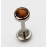 IN STOCK - Industrial Strength Bezel Set Semi-Precious Stone Labret Stud - Tiger's Eye