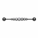 Blackline Clear Crystal Row Scaffold Industrial Barbell