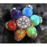 Anatometal Flower Attachment - Rainbow Opal