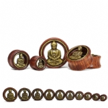 Buddha Brass Front Red Wood Flesh Plug 12mm - 30mm