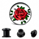 Old School Rose Tattoo Plug 6mm - 30mm