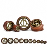 Deathly Hallows Symbol Brass Front Red Wood Flesh Plug 12mm - 30mm