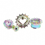 Decorative Heart Rainbow Anodised Flesh Tunnel 5mm - 20mm