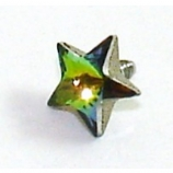 Rainbow Star Shaped Crystal Screw On Attachment For 1.6mm Dermal Anchor