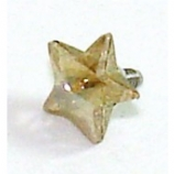 Yellow Topaz Star Shaped Crystal Screw On Attachment For 1.6mm Dermal Anchor