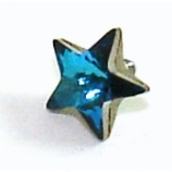 Blue Star Shaped Crystal Screw On Attachment For 1.6mm Dermal Anchor