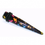 Neon Paint Splatters Ear Stretching Taper 4mm - 10mm