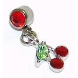 Crystal Cherry Dangle Attachment For 1.6mm Dermal Anchor