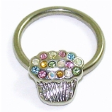Rainbow Crystal Cupcake BCR Ball Closure Ring