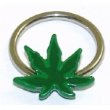 3D Green Hash Leaf BCR Ball Closure Ring