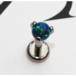 IN STOCK - Industrial Strength Prong Set Fauxpal Labret Stud - Black Opal