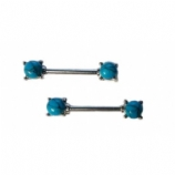 Turquoise Semi-Precious Stone Prong Set Nipple Bar