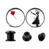Banksy Girl Heart Balloon Plugs 6mm - 25mm (Pair)