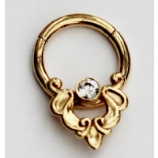 Body Gems Yellow Gold White Crystal Septum Clicker Hinged Ring