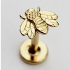 Body Gems Yellow Gold Bee Threaded Stud Attachment