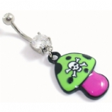 Poisonous Mushroom Cartoon Dangle Belly Bar