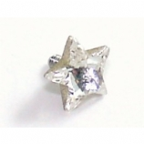 Clear Star Shaped Crystal Screw On Attachment For 1.6mm Dermal Anchor