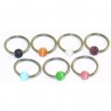 Cat's Eye Bead Ball Closure Ring - 1.2mm