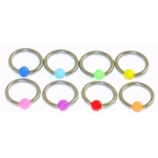 Neon Colour Ball Closure Ring - 1.2mm