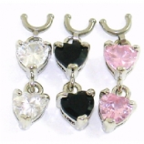Double Heart Dangle Dangle For 1.6mm Dermal Anchor - Requires Concave Side Screw Top