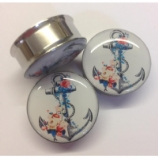 Anchor & Flowers Steel Plug 6mm - 25mm
