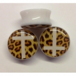 Leopard Print Cross Plug 6mm - 25mm