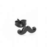 Surgical Steel Black Moustache Ear Stud Earring - Single Ear Ring