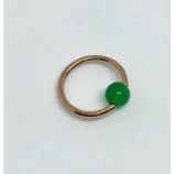 Rose Gold Green Jade Stone Ball Closure Ring