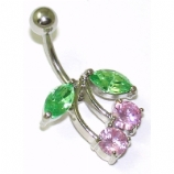 Pink Crystal Cherry Non-Dangle Belly Bar