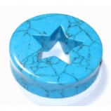 Star Cut-Out Synthetic Turquoise Stone Saddle Plug 13mm - 50mm