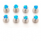 Prong Set Blue Opal Internally Threaded Micro Labret Stud - 1.2mm