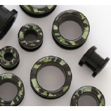 Camouflage Army Print Black Acrylic Screw On Flesh Tunnel 6mm - 16mm