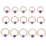 Rose Gold Purple Amethyst Stone Ball Closure Ring