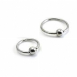 Solid 9ct White Gold Ball Closure Ring - 1.6mm x 12mm